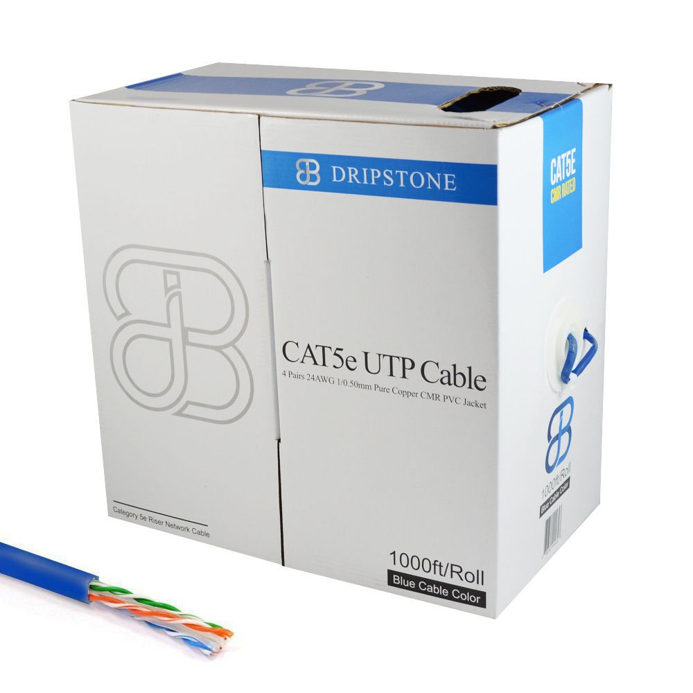 1000FT CAT5e Bare COPPER 24AWG Cable 4 UTP Stranded CM In-Wall Rated ...