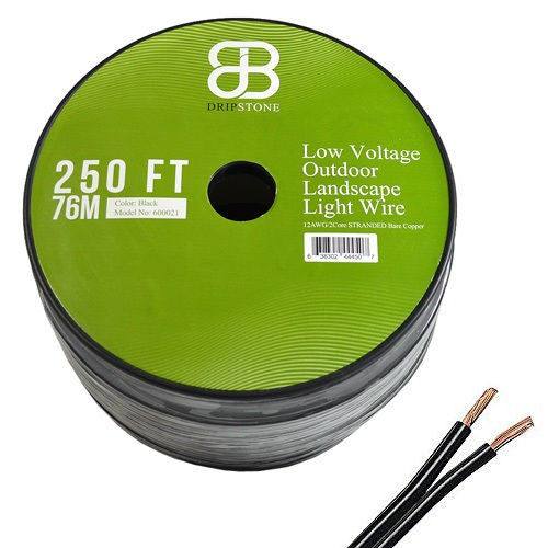 250ft Low Voltage 12/2 Outdoor Lighting Wire 100% COPPER Cable, Black